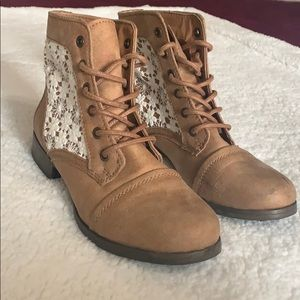 Tan lace booties